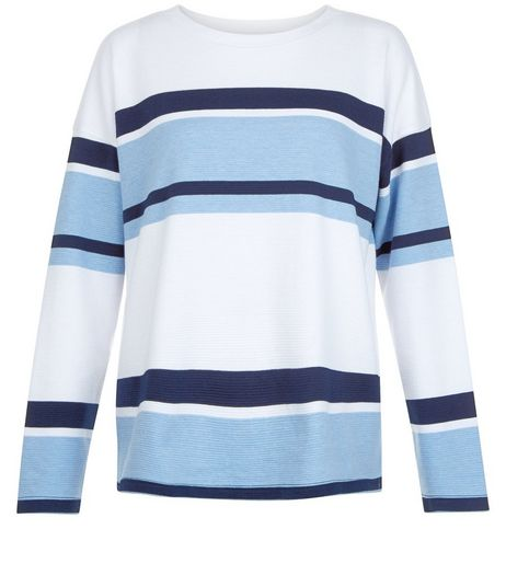 Blue Ribbed Stripe Sweater  | New Look