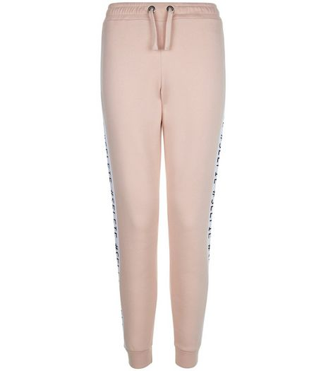 Teens Mid Pink #Selfie Stripe Side Print Joggers | New Look