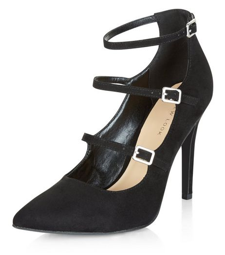 Black Suedette Triple Strap Pointed Heels | New Look