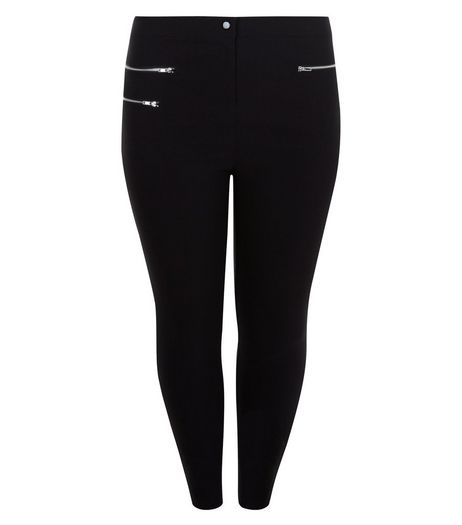 Curves Black Double Zip Pocket Bengaline Trousers | New Look