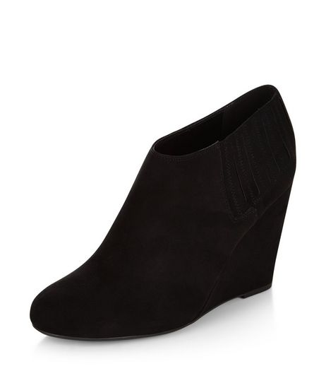 Black Suedette Wedge Shoeboots | New Look
