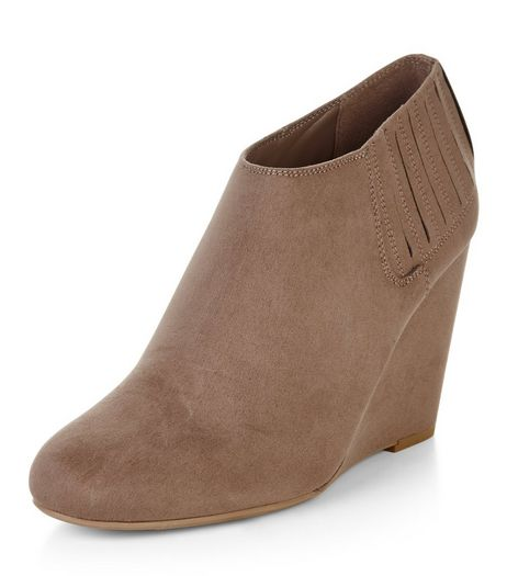 Light Brown Suedette Wedge Shoeboots  | New Look