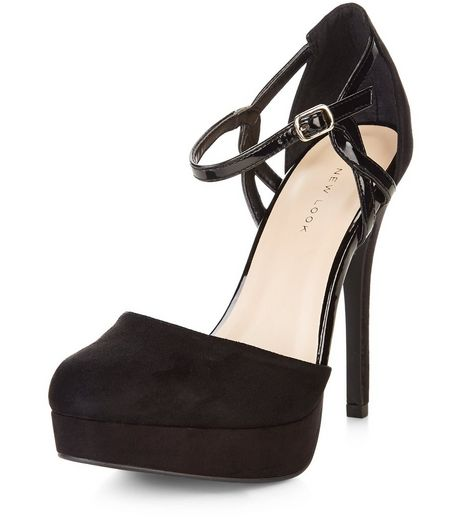 Black Suedette Twist Strap Platform Heels  | New Look