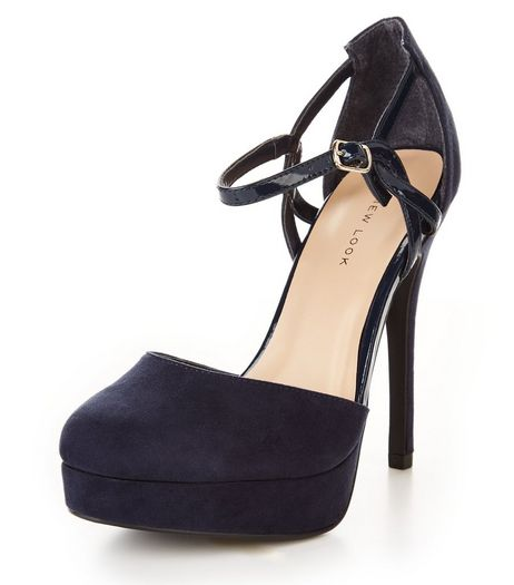 Navy Suedette Twist Strap Platform Heels  | New Look