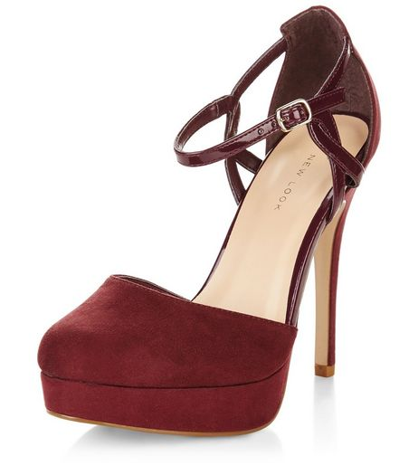 Dark Red Suedette Twist Strap Platform Heels  | New Look
