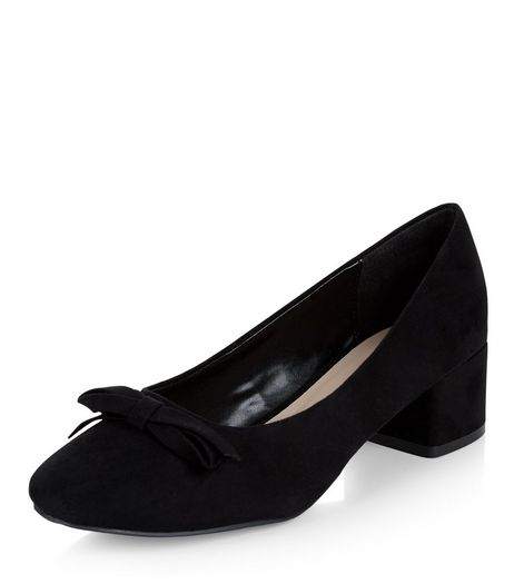 Black Bow Front Mid Block Heels  | New Look
