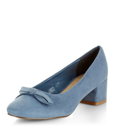 Pale Blue Bow Front Mid Block Heels  | New Look