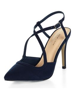 Navy Suedette Cross Strap Pointed Heels  | New Look