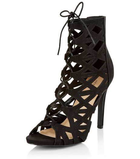 Black Suedette Cut Out Ghillie Heels  | New Look