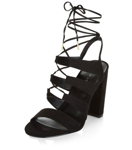 Black Suedette Ghillie Block Heels  | New Look