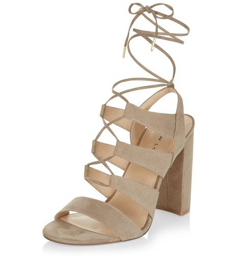 Light Brown Suedette Ghillie Block Heels  | New Look