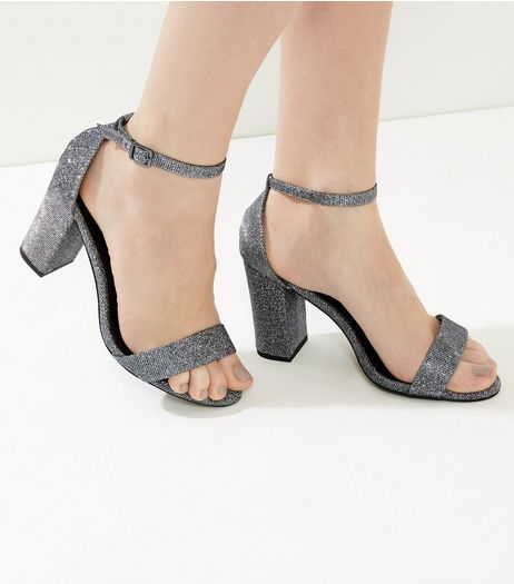 Silver Glitter Ankle Strap Block Heels | New Look