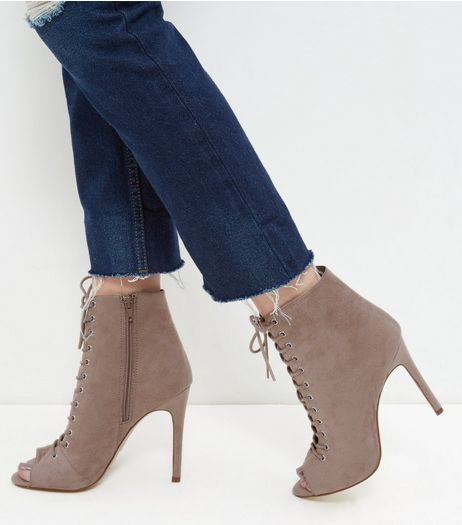 Light Brown Suedette Peep Toe Ghillie Heels  | New Look