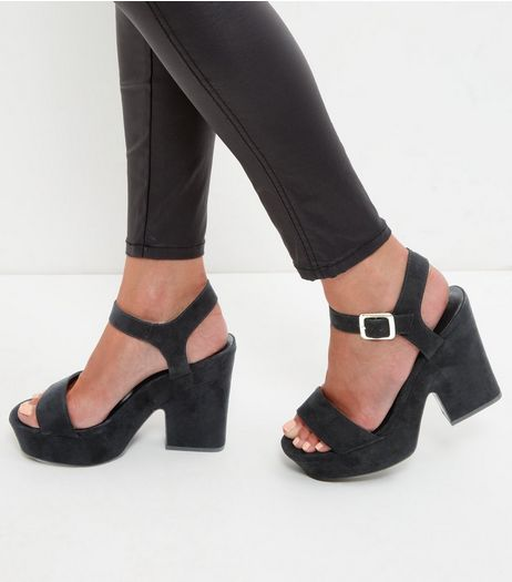 Black Suedette Block Heel Sandals  | New Look