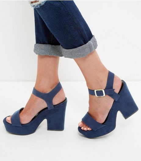 Navy Suedette Block Heel Sandals  | New Look