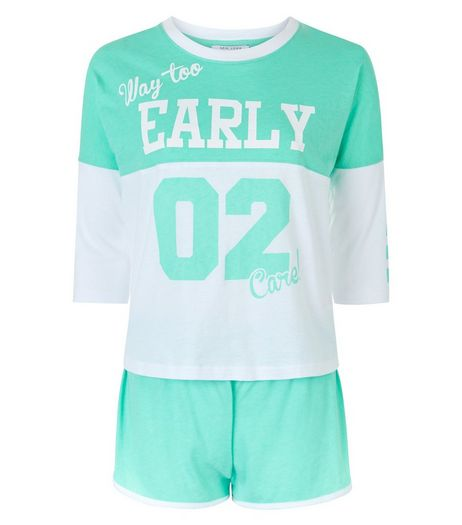 Teens Mint Green Way Too Early Print Colour Block Pyjama Set | New Look
