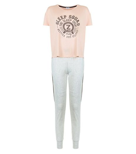 Teens Mid Pink Sleep Squad Print Pyjama Set | New Look
