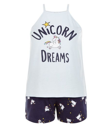 Teens Blue Unicorn Dreams Pyjama Set | New Look