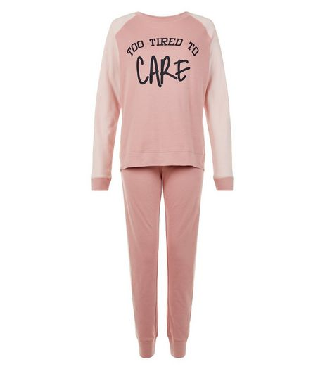 Teens Mid Pink Tired Slogan Pyjama Set | New Look