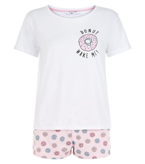 Teens Pink Donut Wake Me Pyjama Set | New Look