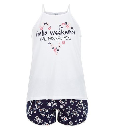 Teens Blue Weekend Slogan Pyjama Set | New Look