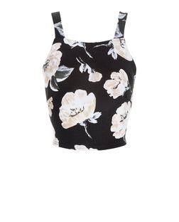 Cameo Rose Black Floral Print Crop Top | New Look