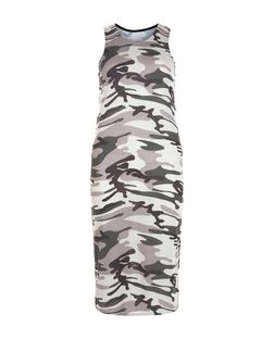 Cameo Rose Camo Print Sleeveless Midi Dress | New Look