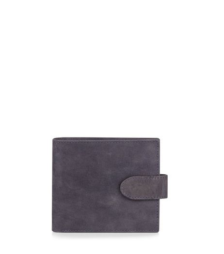 Black Leather Snap Fastening Wallet | New Look