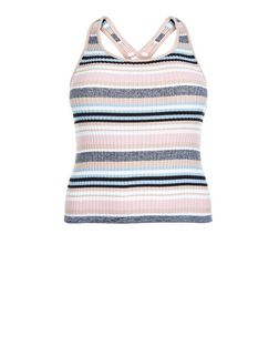 Curves Pink Stripe Cross Strap Top | New Look
