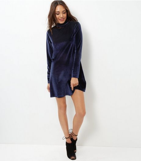 Brave Soul Navy Velvet Funnel Neck Dress  | New Look