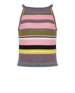 Teens Pink Stripe High Neck Cami | New Look