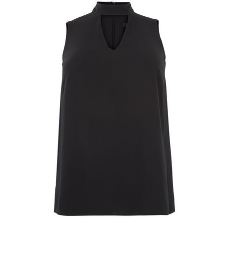 Curves Black High Neck Cut Out Top | New Look