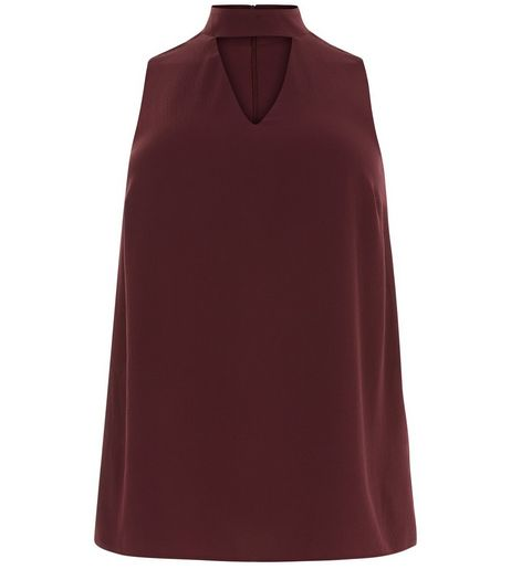 Curves Burgundy Sleeveless Choker Top | New Look