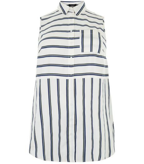 Curves White Stripe Sleeveless Shirt | New Look