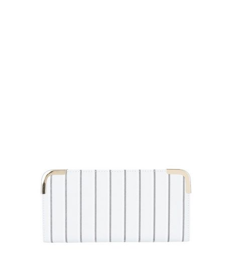 Grey Pin Stripe Metal Trim Purse | New Look