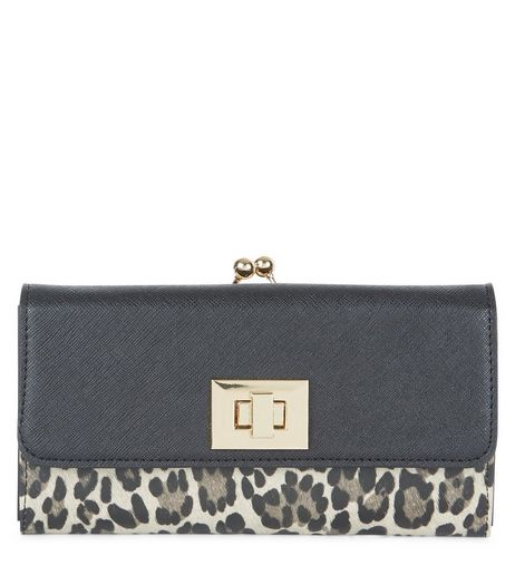 Black Leopard Print Panel Purse | New Look