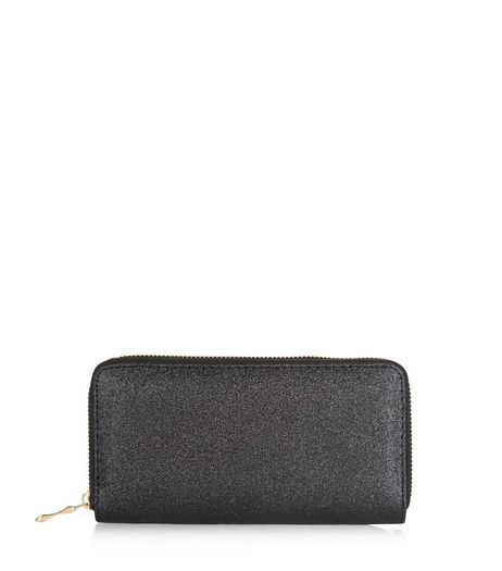 Black Glitter Zip Around Purse  | New Look