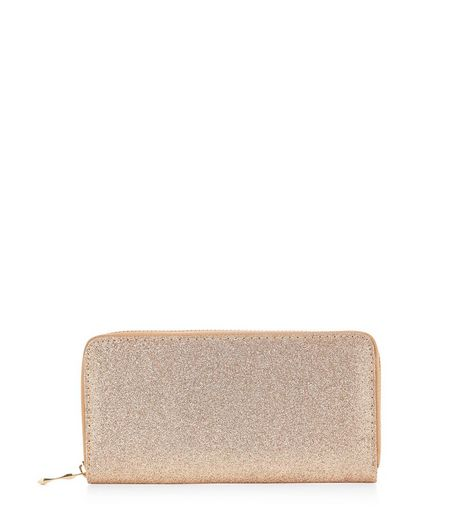 Gold Glitter Zip Around Purse  | New Look