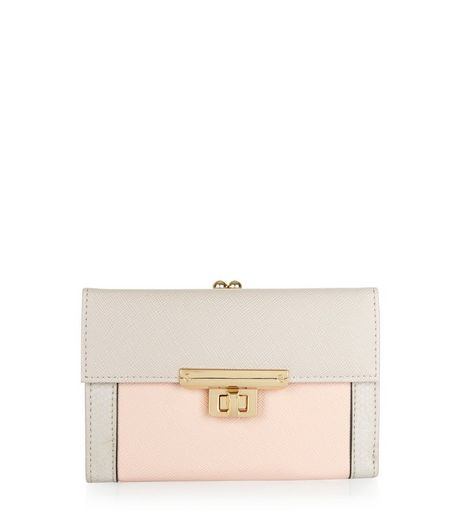 Pink Colour Block Flap Purse | New Look