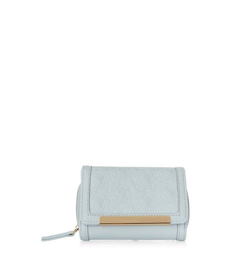 Blue Floral Stitch Metal Bar Purse | New Look