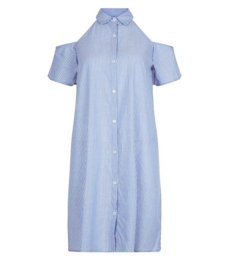 Influence Pale Blue Cold Shoulder Shirt Dress | New Look