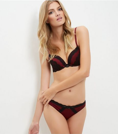 Burgundy Contrast Lace Push Up Bra | New Look