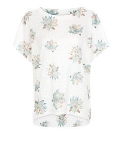 Apricot Cream Floral Print Oversized Top | New Look