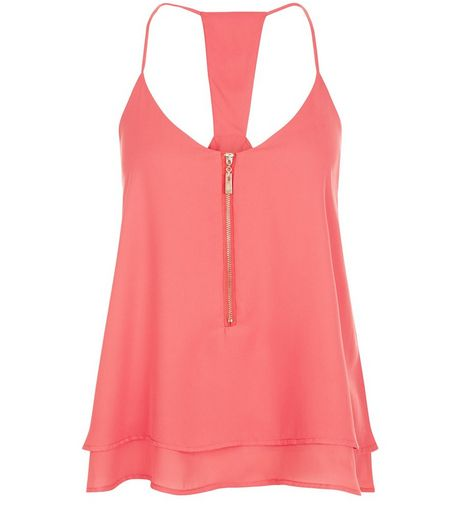 Apricot Coral Zip Front Layered Cami | New Look