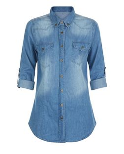 Apricot Blue Roll Sleeve Denim Shirt | New Look