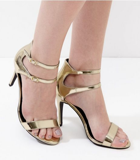 Gold Mirror Patent Double Ankle Strap Heels | New Look