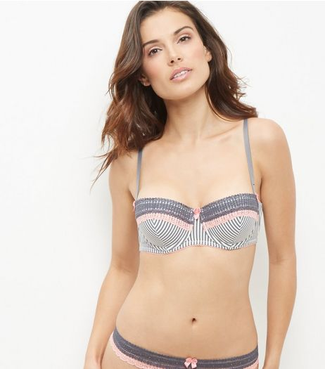 Black Stripe Contrast Lace Trim Bra | New Look