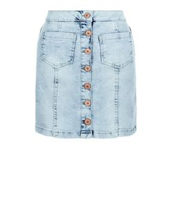 Parisian Pale Blue Button Front A-Line Denim Skirt | New Look