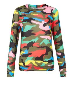 Cameo Rose Multicoloured Camo Print Sweater | New Look