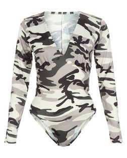 Cameo Rose Green Camo Print Bodysuit | New Look